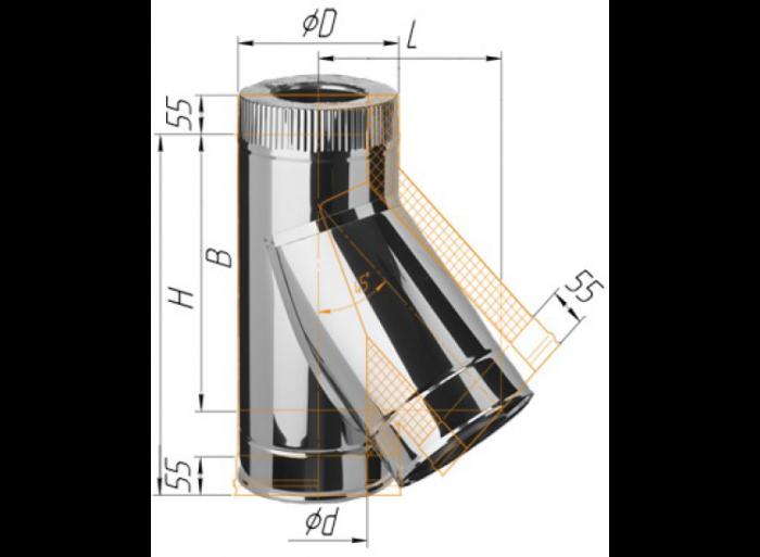 Сэндвич-тройник 135гр., (430/0,5мм + оц.) D200/280 Ferrum