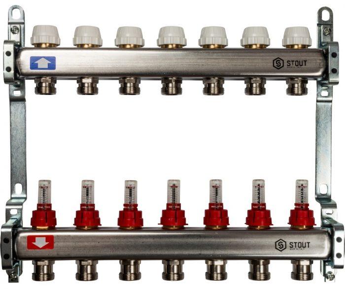 Коллекторный блок STOUT на 7 контуров с расходомерами