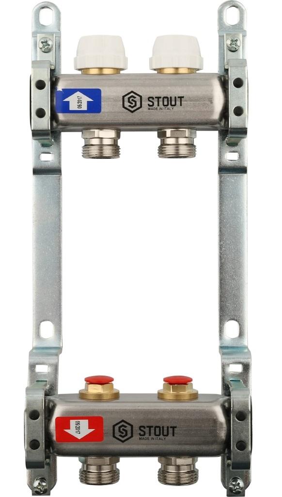 Коллекторная группа STOUT на 2 контура с регулировочными вентилями
