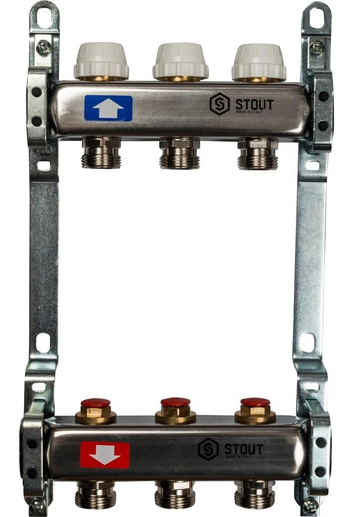 Коллекторная группа STOUT на 3 контура с регулировочными вентилями