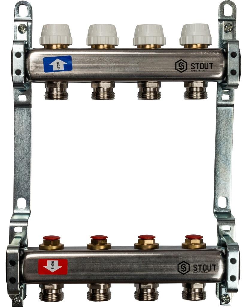 Коллекторная группа STOUT на 4 контура с регулировочными вентилями