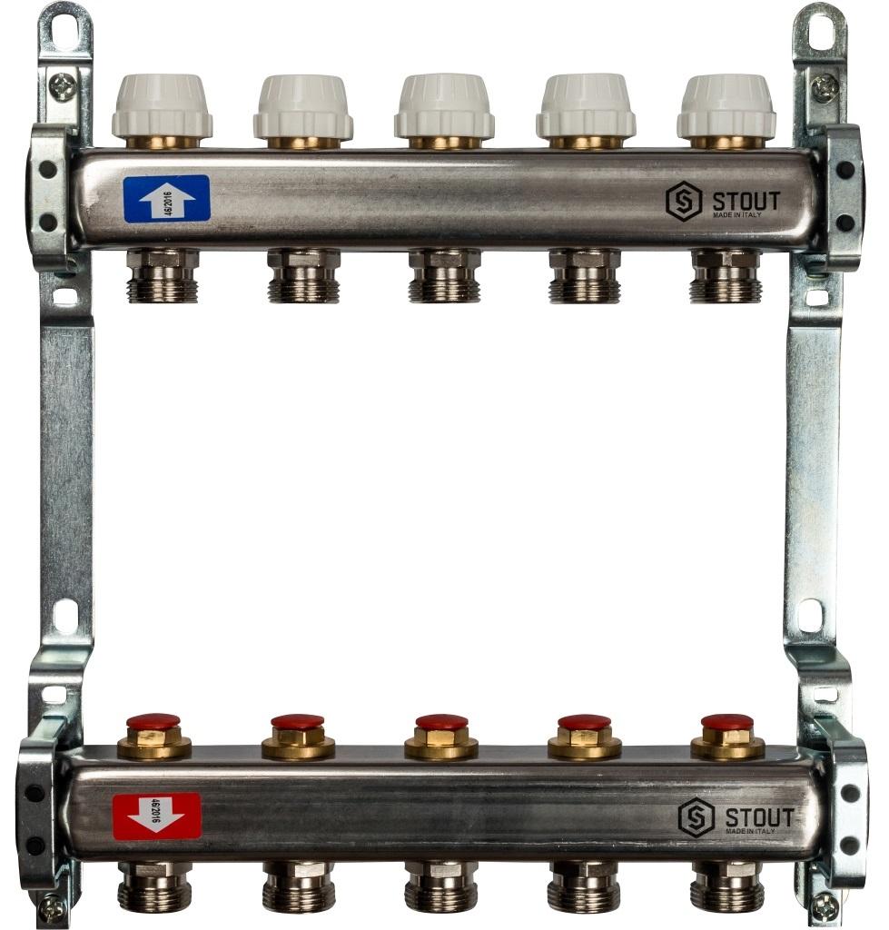 Коллекторная группа STOUT на 5 контуров с регулировочными вентилями