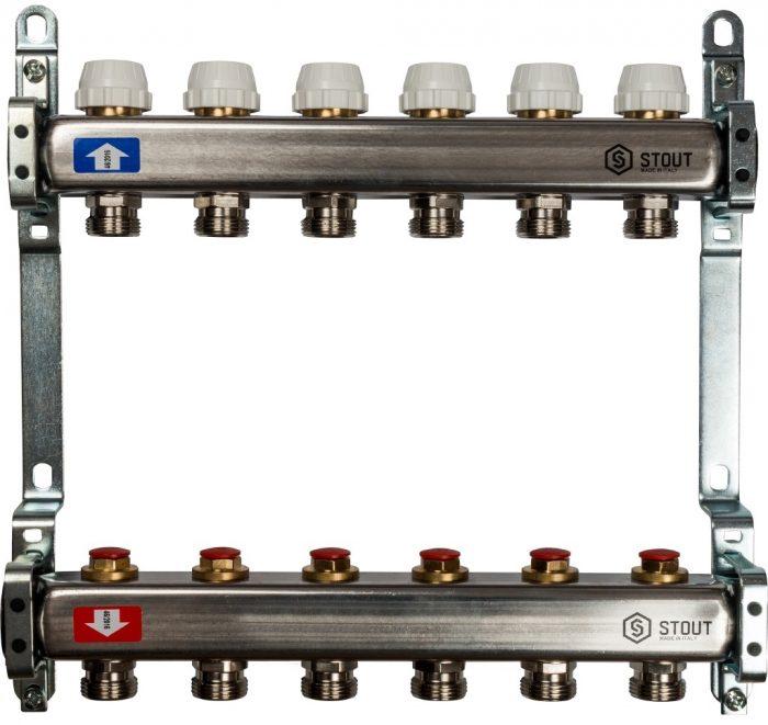 Коллекторная группа STOUT на 6 контуров с регулировочными вентилями