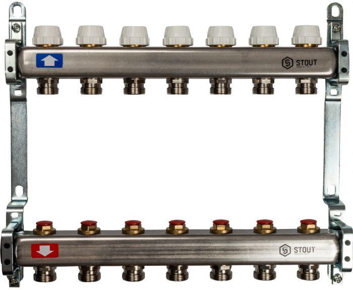 Коллекторная группа STOUT на 7 контуров с регулировочными вентилями