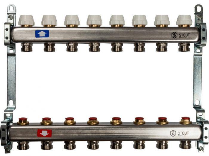 Коллекторная группа STOUT на 8 контуров с регулировочными вентилями