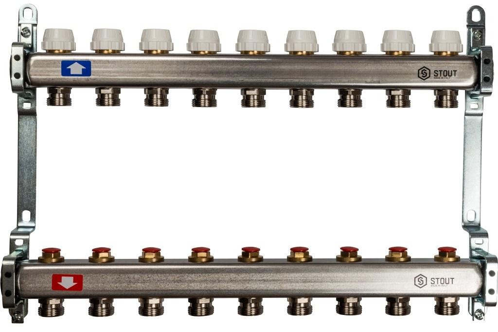 Коллекторная группа STOUT на 9 контуров с регулировочными вентилями