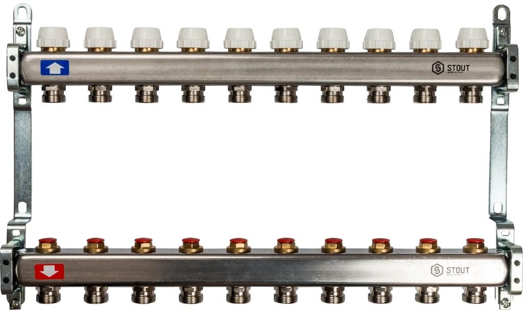Коллекторная группа STOUT на 10 контуров с регулировочными вентилями