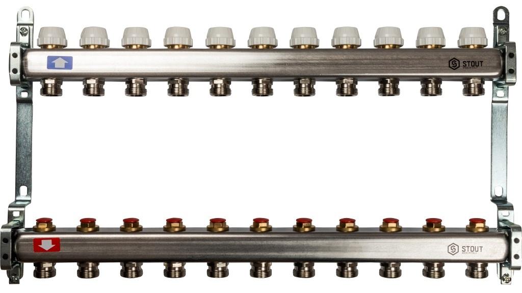 Коллекторная группа STOUT на 11 контуров с регулировочными вентилями